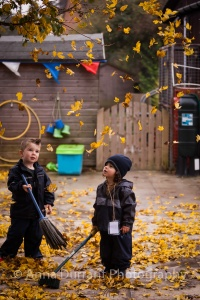 Learning about the seasons while playing with leaves